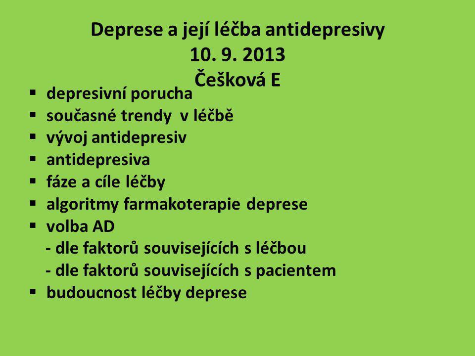 Deprese a její léčba antidepresivy 10. 9. 2013 Češková E  depresivní porucha  současné trendy v léčbě  vývoj antidepresiv  antidepresiva  fáze a