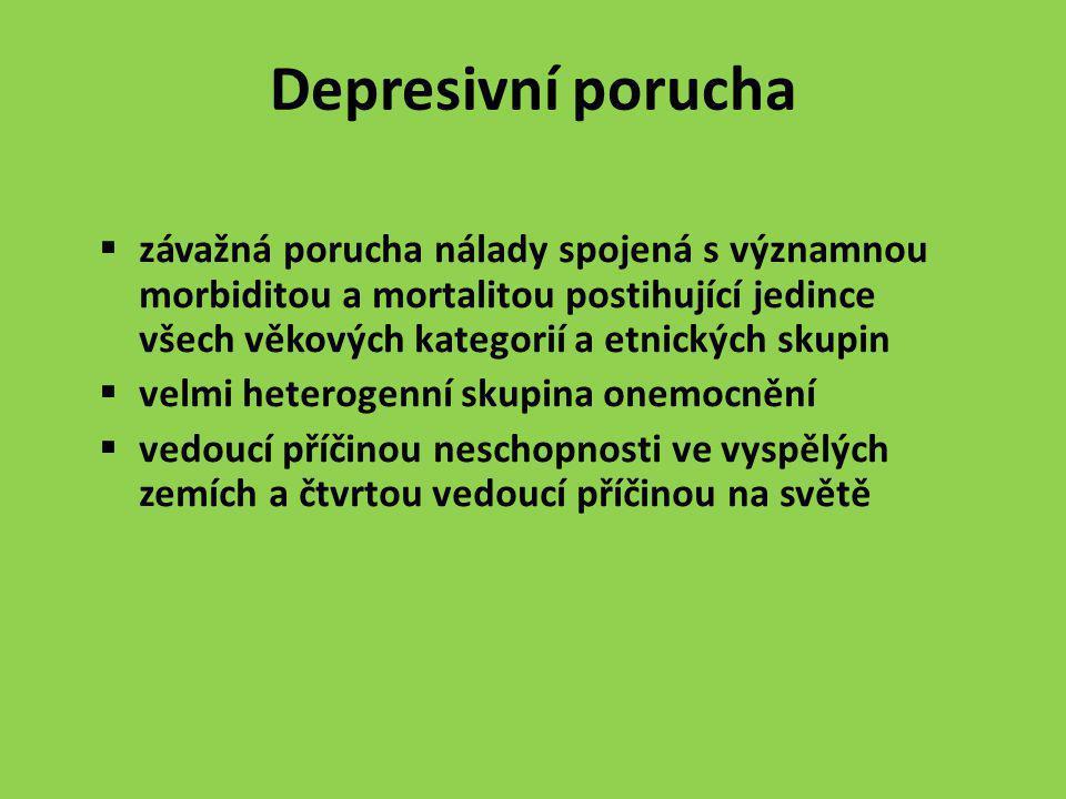 Depresivní porucha  závažná porucha nálady spojená s významnou morbiditou a mortalitou postihující jedince všech věkových kategorií a etnických skupi