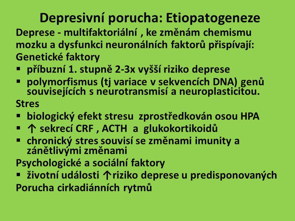 Depresivní porucha: Etiopatogeneze Deprese - multifaktoriální, ke změnám chemismu mozku a dysfunkci neuronálních faktorů přispívají: Genetické faktory