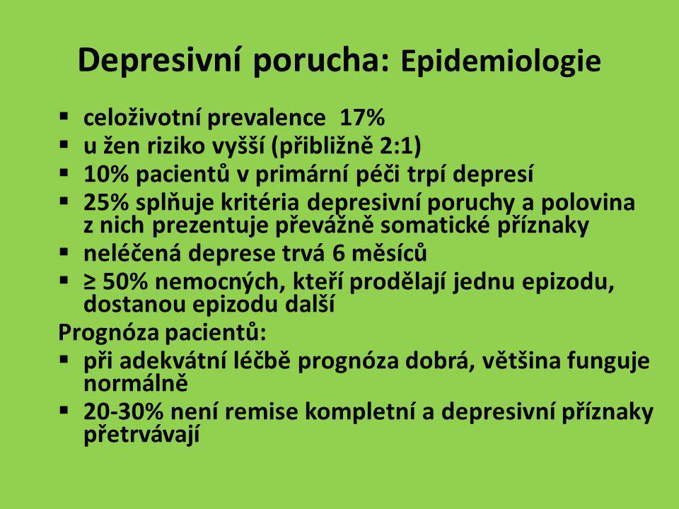 Depresivní porucha: Epidemiologie  celoživotní prevalence 17%  u žen riziko vyšší (přibližně 2:1)  10% pacientů v primární péči trpí depresí  25%
