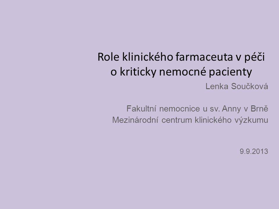 Role klinického farmaceuta v péči o kriticky nemocné pacienty Lenka Součková Fakultní nemocnice u sv. Anny v Brně Mezinárodní centrum klinického výzku