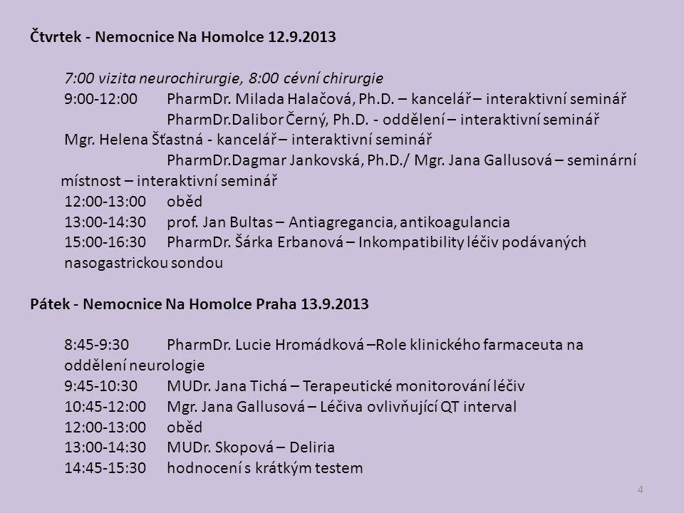 4 Čtvrtek - Nemocnice Na Homolce 12.9.2013 7:00 vizita neurochirurgie, 8:00 cévní chirurgie 9:00-12:00 PharmDr. Milada Halačová, Ph.D. – kancelář – in