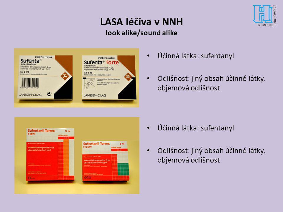 LASA léčiva v NNH look alike/sound alike Účinná látka: sufentanyl Odlišnost: jiný obsah účinné látky, objemová odlišnost Účinná látka: sufentanyl Odli