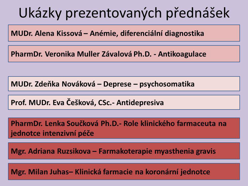 Ukázky prezentovaných přednášek 5 MUDr. Alena Kissová – Anémie, diferenciální diagnostika PharmDr. Veronika Muller Závalová Ph.D. - Antikoagulace Prof