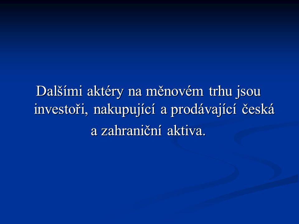 Dalšími aktéry na měnovém trhu jsou investoři, nakupující a prodávající česká a zahraniční aktiva.