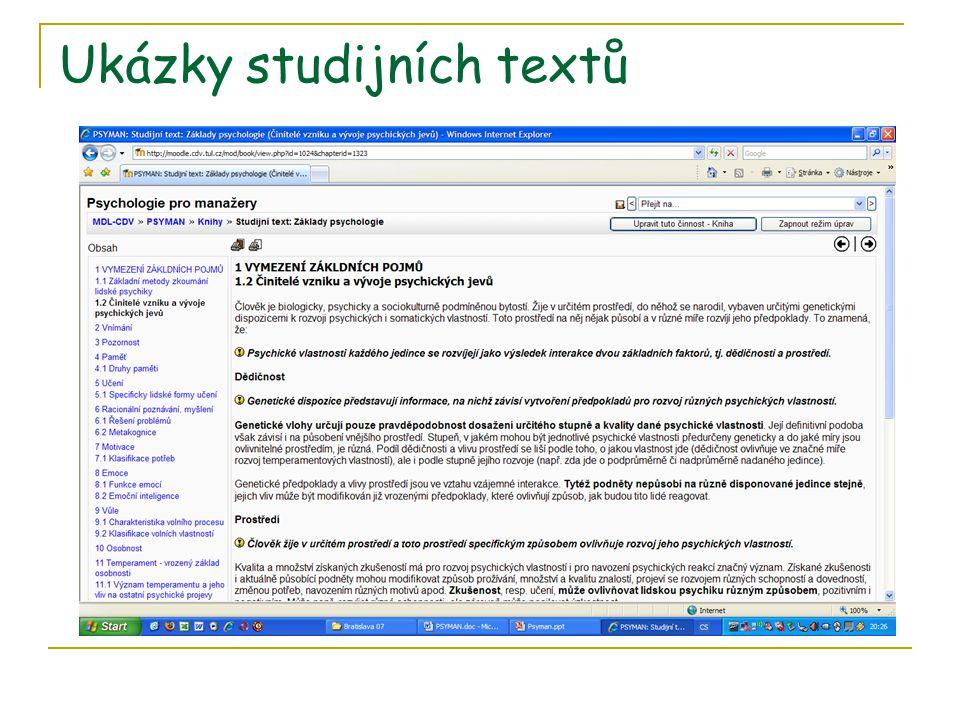 Ukázky studijních textů