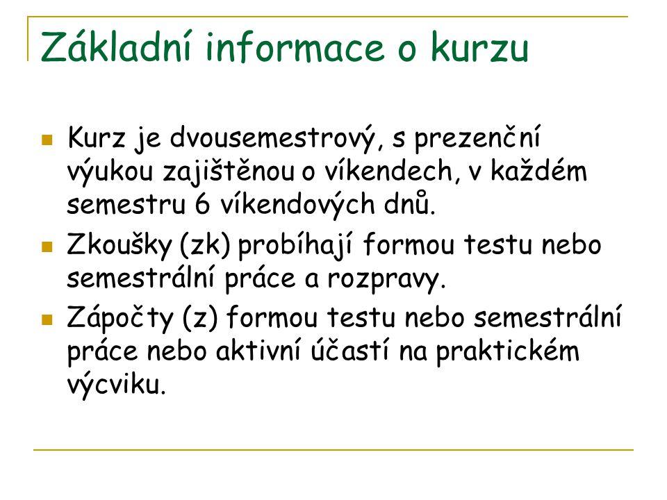 Základní informace o kurzu Kurz je dvousemestrový, s prezenční výukou zajištěnou o víkendech, v každém semestru 6 víkendových dnů.