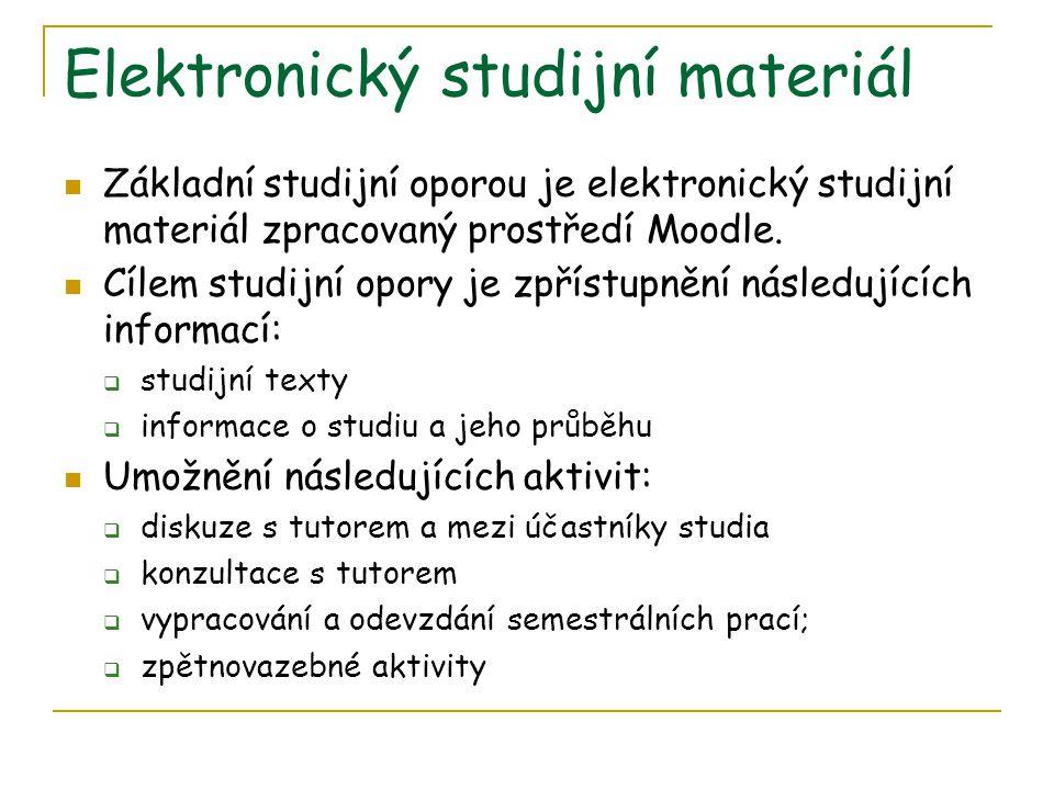 Elektronický studijní materiál Základní studijní oporou je elektronický studijní materiál zpracovaný prostředí Moodle.