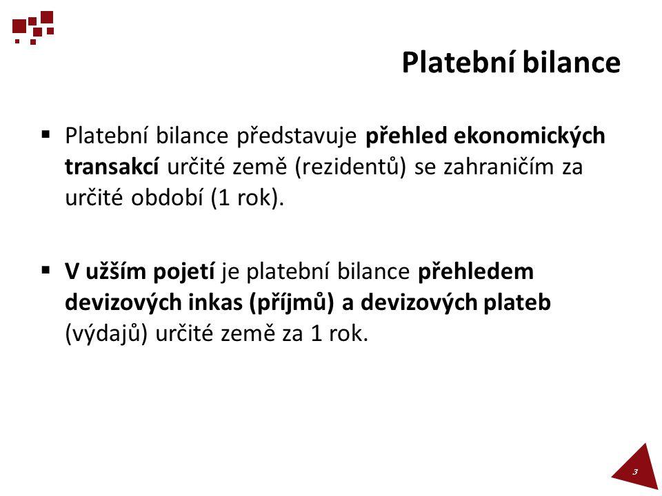 Platební bilance  Platební bilance představuje přehled ekonomických transakcí určité země (rezidentů) se zahraničím za určité období (1 rok).  V užš