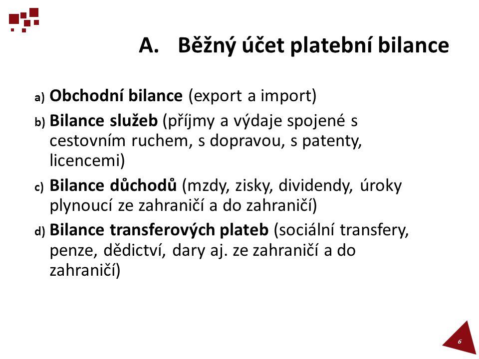 A.Běžný účet platební bilance a) Obchodní bilance (export a import) b) Bilance služeb (příjmy a výdaje spojené s cestovním ruchem, s dopravou, s paten