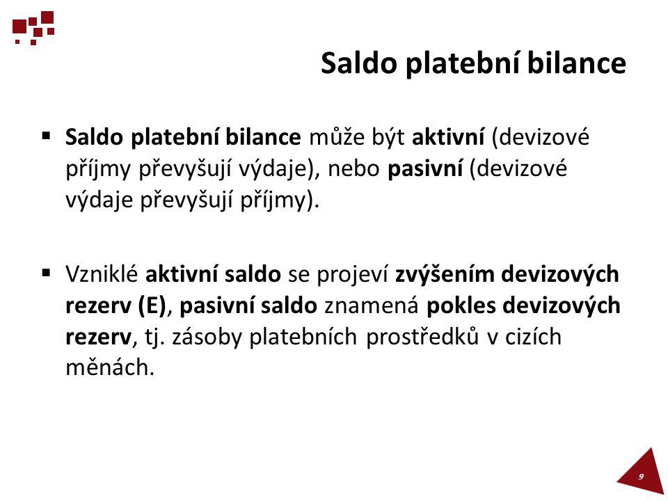 Saldo platební bilance  Saldo platební bilance může být aktivní (devizové příjmy převyšují výdaje), nebo pasivní (devizové výdaje převyšují příjmy).