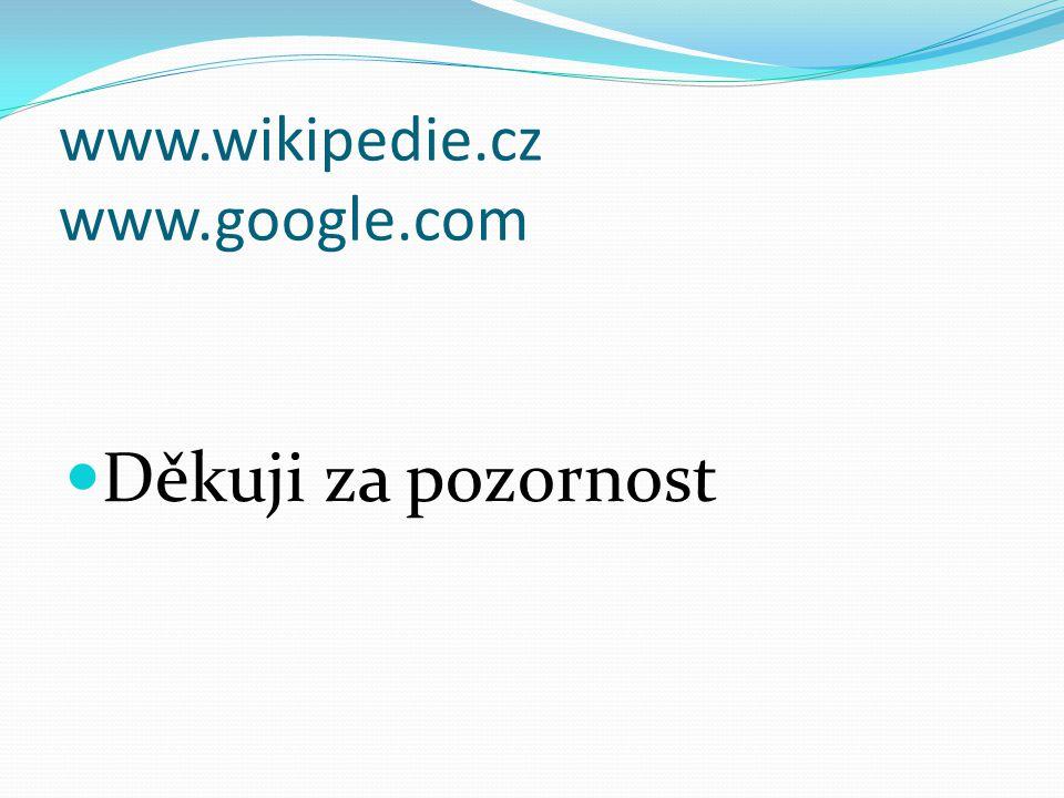 www.wikipedie.cz www.google.com Děkuji za pozornost