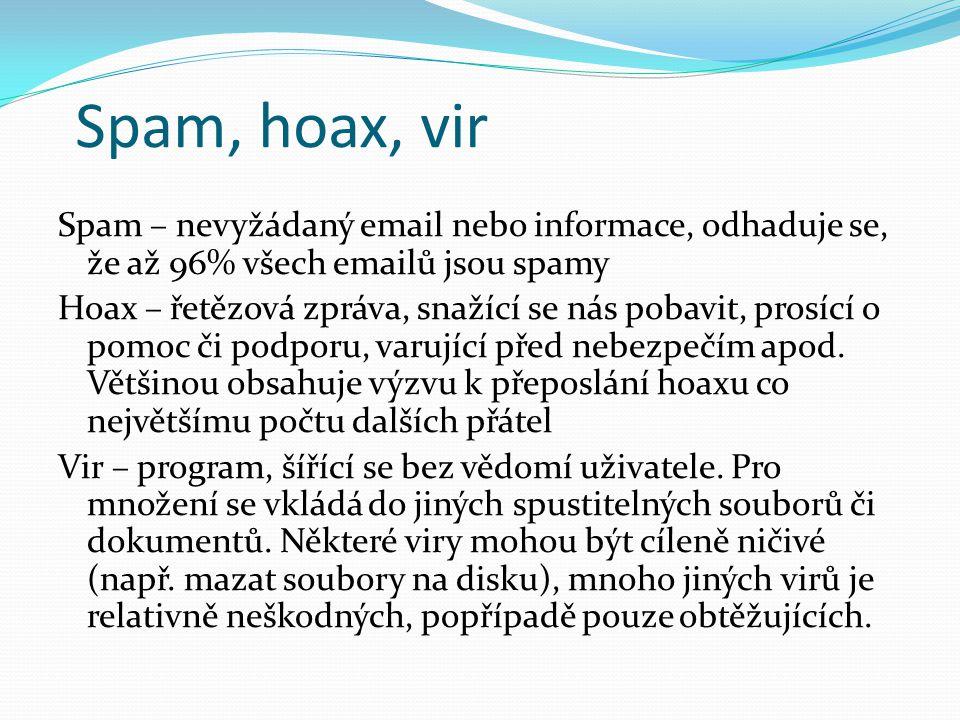 Spam, hoax, vir Spam – nevyžádaný email nebo informace, odhaduje se, že až 96% všech emailů jsou spamy Hoax – řetězová zpráva, snažící se nás pobavit,