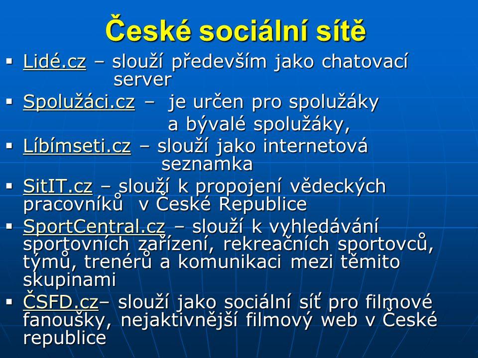 České sociální sítě  Lidé.cz – slouží především jako chatovací server Lidé.cz  Spolužáci.cz – je určen pro spolužáky Spolužáci.cz a bývalé spolužáky