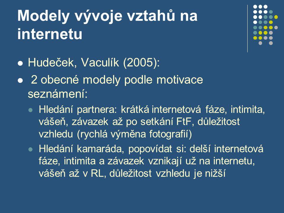 Modely vývoje vztahů na internetu Hudeček, Vaculík (2005): 2 obecné modely podle motivace seznámení: Hledání partnera: krátká internetová fáze, intimita, vášeň, závazek až po setkání FtF, důležitost vzhledu (rychlá výměna fotografií) Hledání kamaráda, popovídat si: delší internetová fáze, intimita a závazek vznikají už na internetu, vášeň až v RL, důležitost vzhledu je nižší