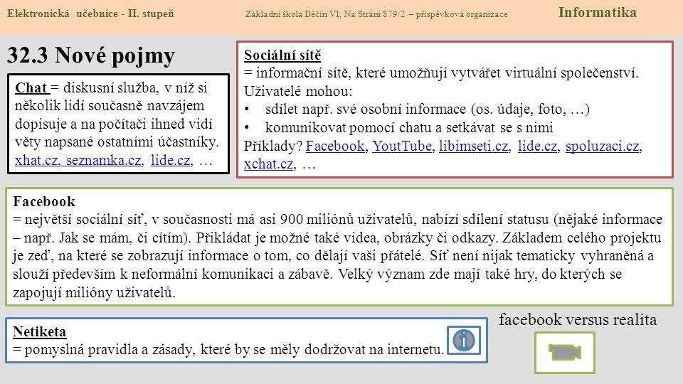 Elektronická učebnice - II. stupeň Základní škola Děčín VI, Na Stráni 879/2 – příspěvková organizace Informatika 32.3 Nové pojmy Sociální sítě = infor