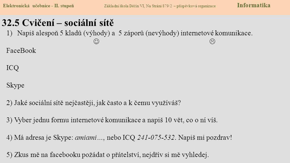 32.5 Cvičení – sociální sítě Elektronická učebnice - II. stupeň Základní škola Děčín VI, Na Stráni 879/2 – příspěvková organizace Informatika 1)Napiš
