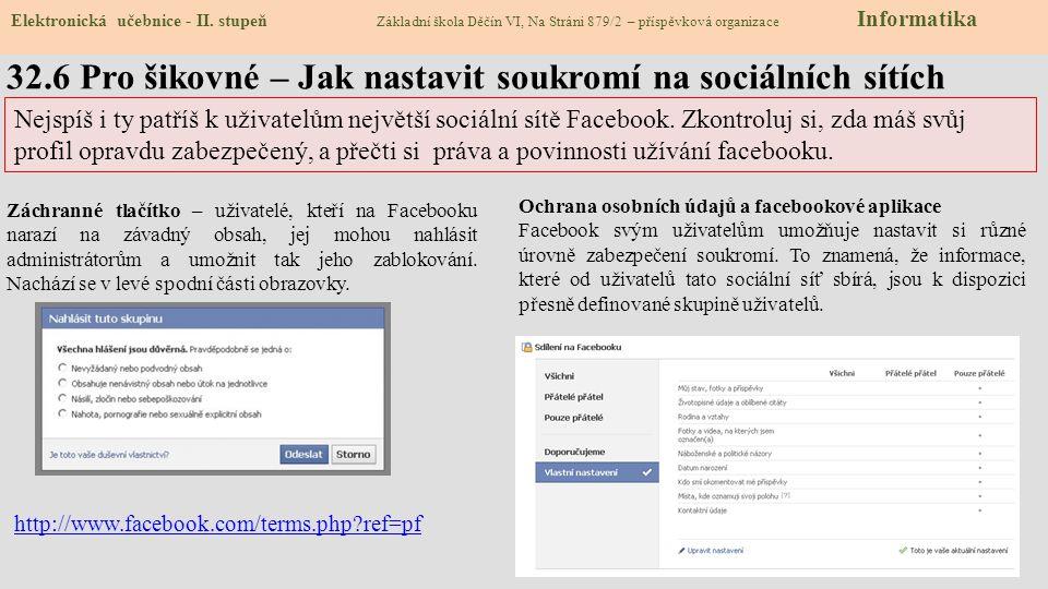 32.7 CLIL – social network, internet communication Elektronická učebnice - II.