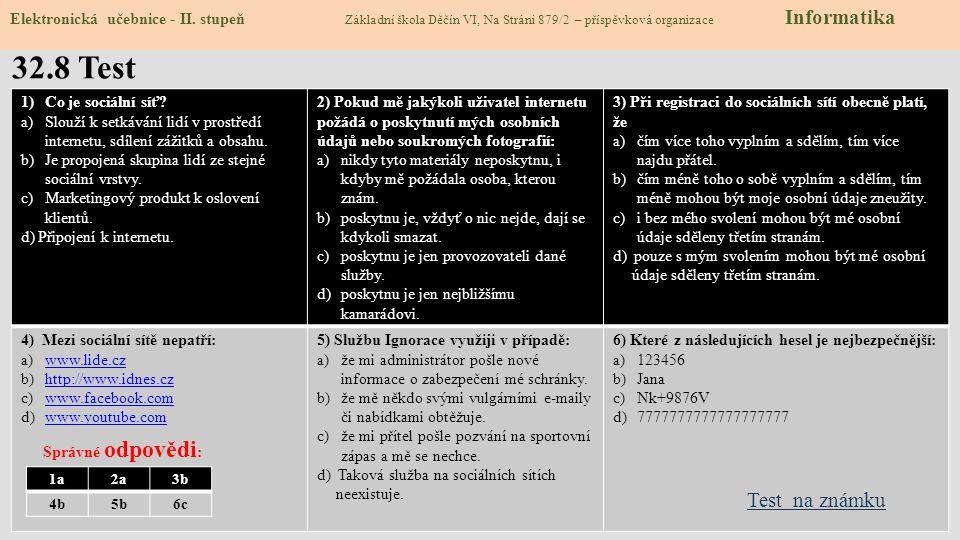 Zdroje: http://www.bezpecnyinternet.czslide 4, 7 http://www.bezpecnyinternet.cz http://www.e-nebezpeci.czslide 2 http://www.e-nebezpeci.cz http://cs.wikipedia.org/wiki/Netiketaslide 3 http://cs.wikipedia.org/wiki/Netiketa http://www.stream.cz/uservideo/498022-facebook-vs-realitaslide 3 http://www.stream.cz/uservideo/498022-facebook-vs-realita http://clanky.rvp.cz/clanek/c/Z/9673/slide 6 http://clanky.rvp.cz/clanek/c/Z/9673/ http://www.zsdobrichovice.cz/ukoly/informatika/testy/testy.php?go=bezpeci_01slide 7 http://www.zsdobrichovice.cz/ukoly/informatika/testy/testy.php?go=bezpeci_01 Obrázky z databáze klipart Zdroje: http://www.bezpecnyinternet.czslide 4, 7 http://www.bezpecnyinternet.cz http://www.e-nebezpeci.czslide 2 http://www.e-nebezpeci.cz http://cs.wikipedia.org/wiki/Netiketaslide 3 http://cs.wikipedia.org/wiki/Netiketa http://www.stream.cz/uservideo/498022-facebook-vs-realitaslide 3 http://www.stream.cz/uservideo/498022-facebook-vs-realita http://clanky.rvp.cz/clanek/c/Z/9673/slide 6 http://clanky.rvp.cz/clanek/c/Z/9673/ http://www.zsdobrichovice.cz/ukoly/informatika/testy/testy.php?go=bezpeci_01slide 7 http://www.zsdobrichovice.cz/ukoly/informatika/testy/testy.php?go=bezpeci_01 Obrázky z databáze klipart 32.9 Použité zdroje, citace Elektronická učebnice - II.