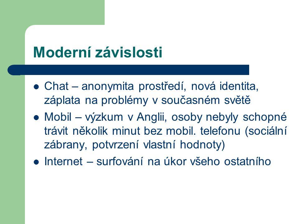 Moderní závislosti Chat – anonymita prostředí, nová identita, záplata na problémy v současném světě Mobil – výzkum v Anglii, osoby nebyly schopné tráv