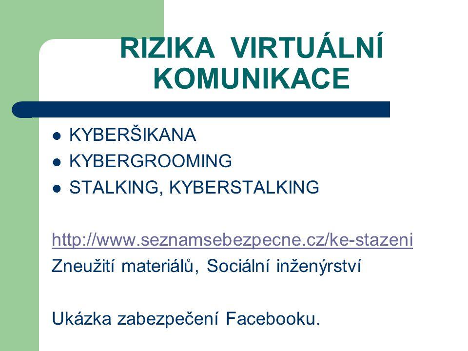RIZIKA VIRTUÁLNÍ KOMUNIKACE KYBERŠIKANA KYBERGROOMING STALKING, KYBERSTALKING http://www.seznamsebezpecne.cz/ke-stazeni Zneužití materiálů, Sociální i