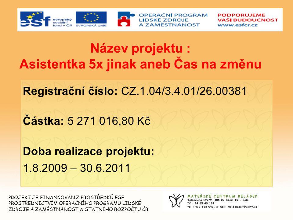 2 Název projektu : Asistentka 5x jinak aneb Čas na změnu Registrační číslo: CZ.1.04/3.4.01/26.00381 Částka: 5 271 016,80 Kč Doba realizace projektu: 1