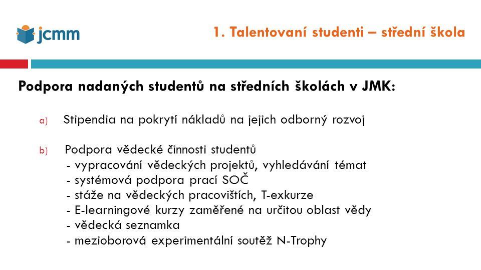 1. Talentovaní studenti – střední škola Podpora nadaných studentů na středních školách v JMK: a) Stipendia na pokrytí nákladů na jejich odborný rozvoj