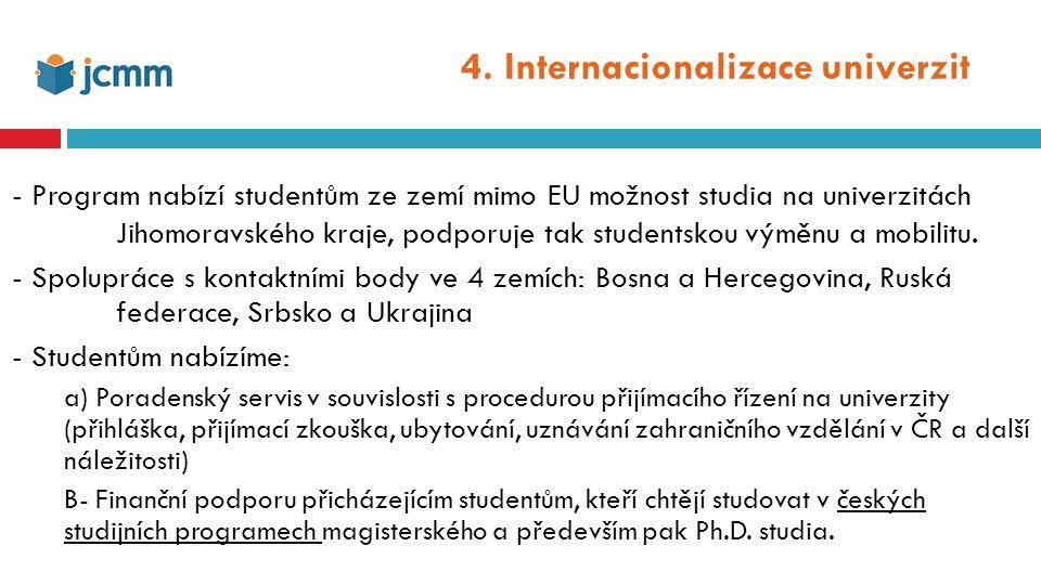 """Podpora přílivu vědců do regionu: a)South Moravian Programme for Distinguished Researchers (SoMoPro ) – 2 projekty – 4 výzvy SoMoPro je program, který rozděluje granty na podporu příchodu zahraničních vědců (""""Incoming grants ) a reintegraci vědců českých (""""Reintegration grants ) b)Servis pro zahraniční vědce v regionu (EURAXESS) Asistence při vyřizování víz a dalších formálních náležitostí Poskytování ostatních praktických informací týkající se života v Brně (lékařská péče, školy a školky pro děti, aj.) 5."""