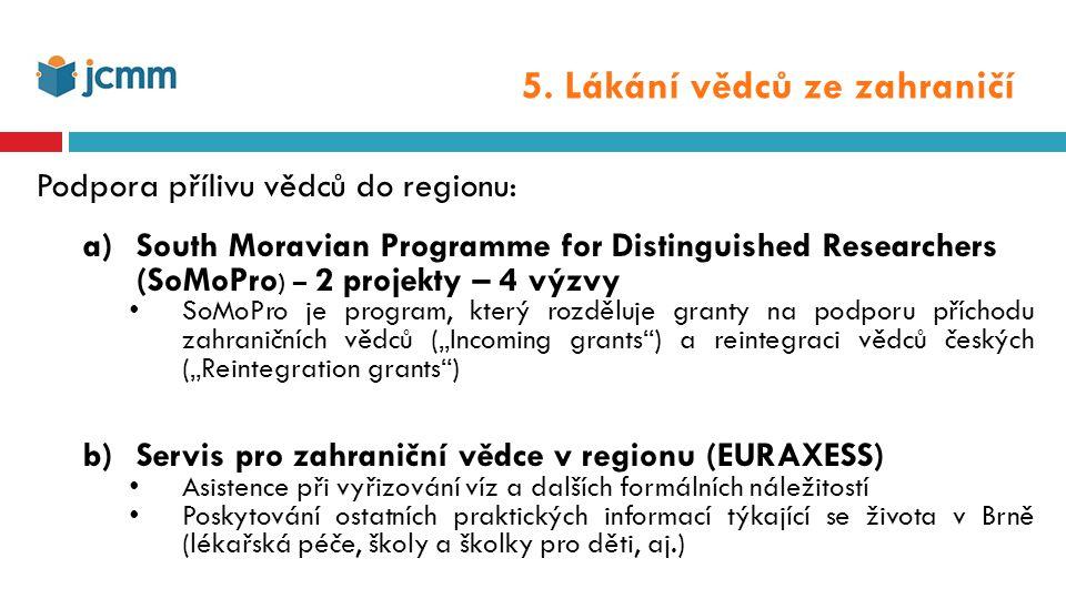 """SoMoPro: 2 projekty – 4 výzvy South Moravian Programme for Distinguished Researchers SoMoPro je program, který rozděluje granty na podporu příchodu zahraničních vědců (""""Incoming grants ) a reintegraci vědců českých (""""Reintegration grants ) rozpočet: 8 mil."""