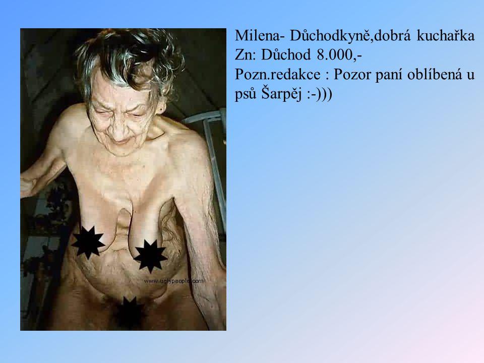 Milena- Důchodkyně,dobrá kuchařka Zn: Důchod 8.000,- Pozn.redakce : Pozor paní oblíbená u psů Šarpěj :-)))