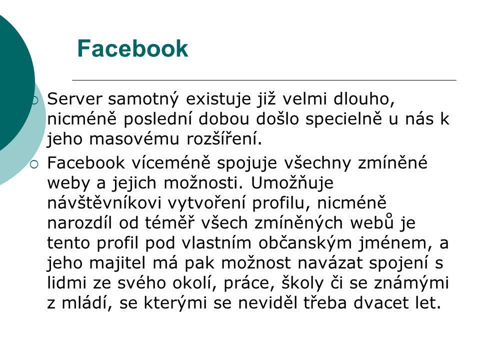 Facebook  Server samotný existuje již velmi dlouho, nicméně poslední dobou došlo specielně u nás k jeho masovému rozšíření.  Facebook víceméně spoju