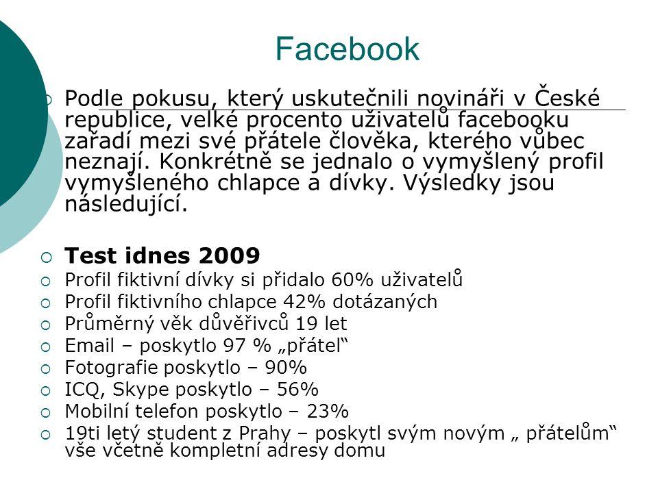 Facebook  Podle pokusu, který uskutečnili novináři v České republice, velké procento uživatelů facebooku zařadí mezi své přátele člověka, kterého vůb