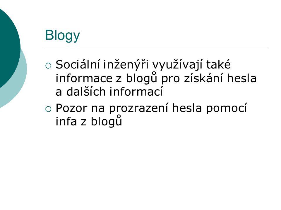 Blogy  Sociální inženýři využívají také informace z blogů pro získání hesla a dalších informací  Pozor na prozrazení hesla pomocí infa z blogů