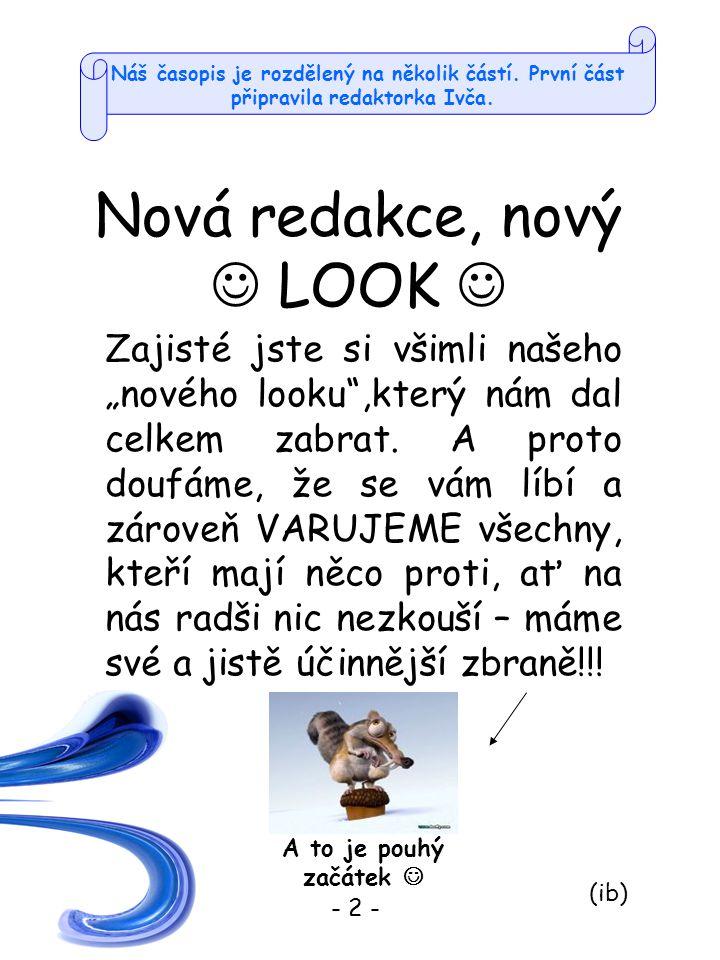 Nová redakce, nový LOOK - 2 - A to je pouhý začátek (ib) Náš časopis je rozdělený na několik částí.