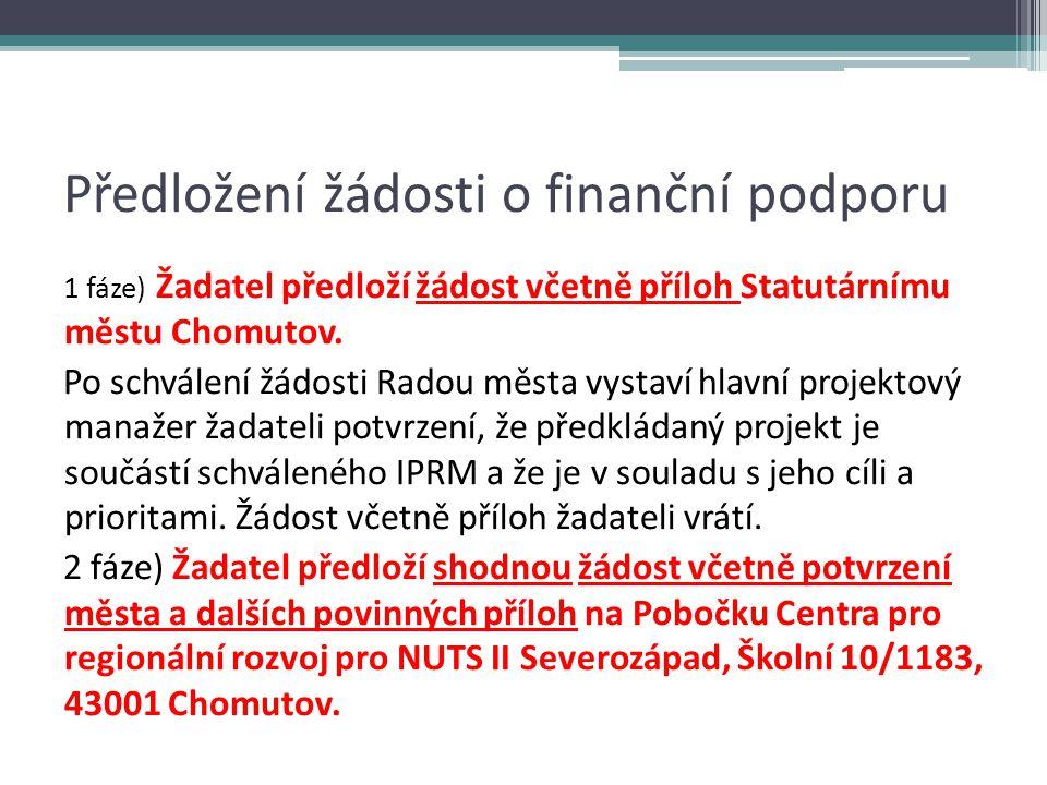 Předložení žádosti o finanční podporu 1 fáze) Žadatel předloží žádost včetně příloh Statutárnímu městu Chomutov.