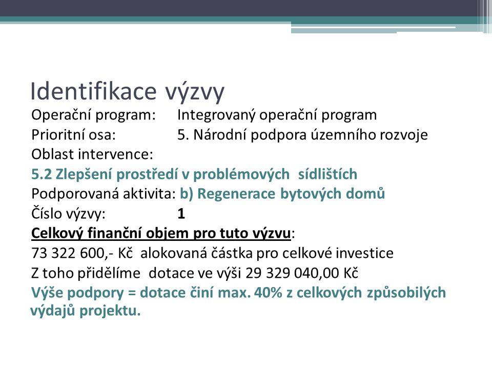 Identifikace výzvy Operační program: Integrovaný operační program Prioritní osa: 5.