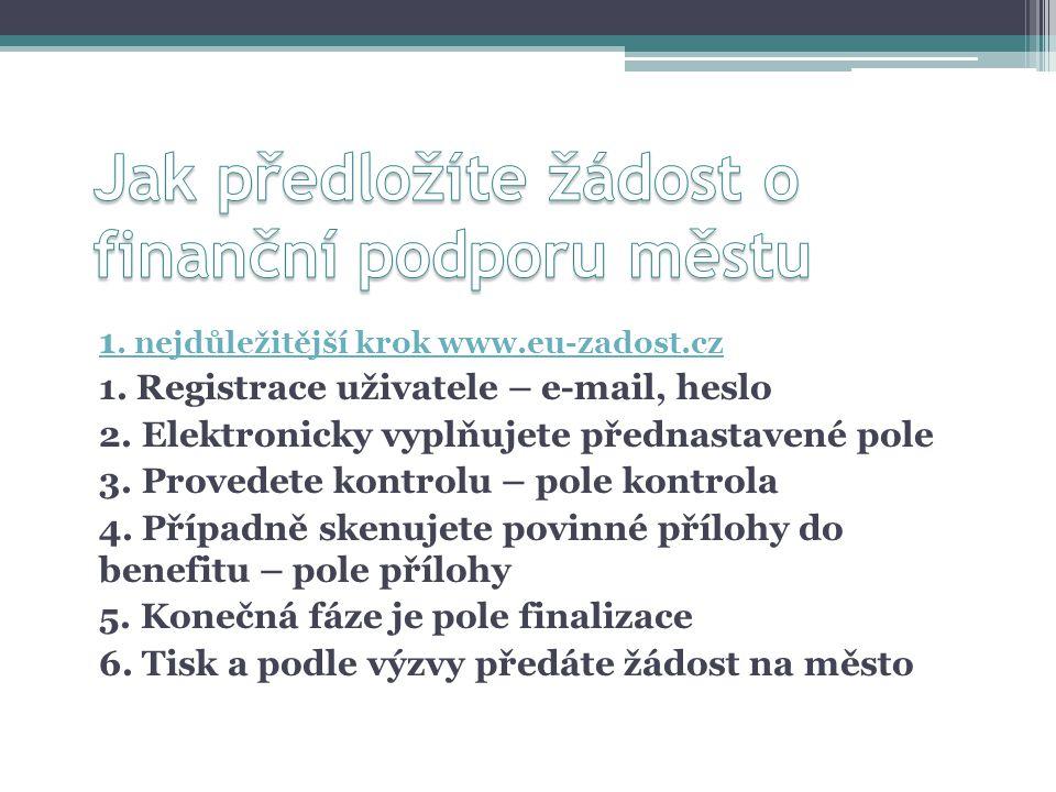 1. nejdůležitější krok www.eu-zadost.cz 1. Registrace uživatele – e-mail, heslo 2.