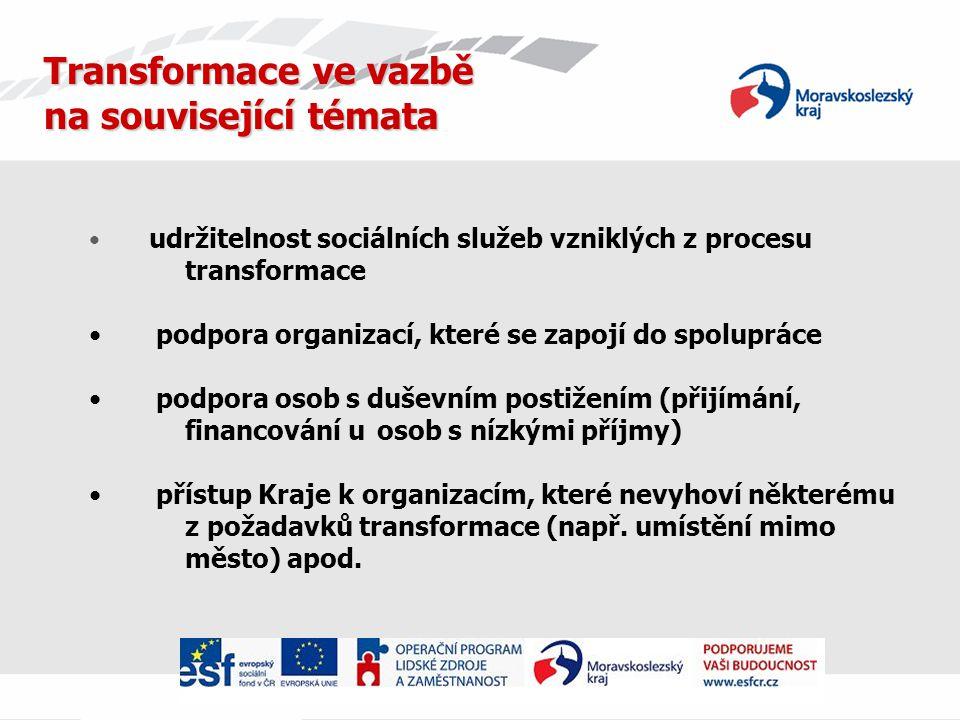 Transformace ve vazbě na související témata udržitelnost sociálních služeb vzniklých z procesu transformace podpora organizací, které se zapojí do spolupráce podpora osob s duševním postižením (přijímání, financování u osob s nízkými příjmy) přístup Kraje k organizacím, které nevyhoví některému z požadavků transformace (např.