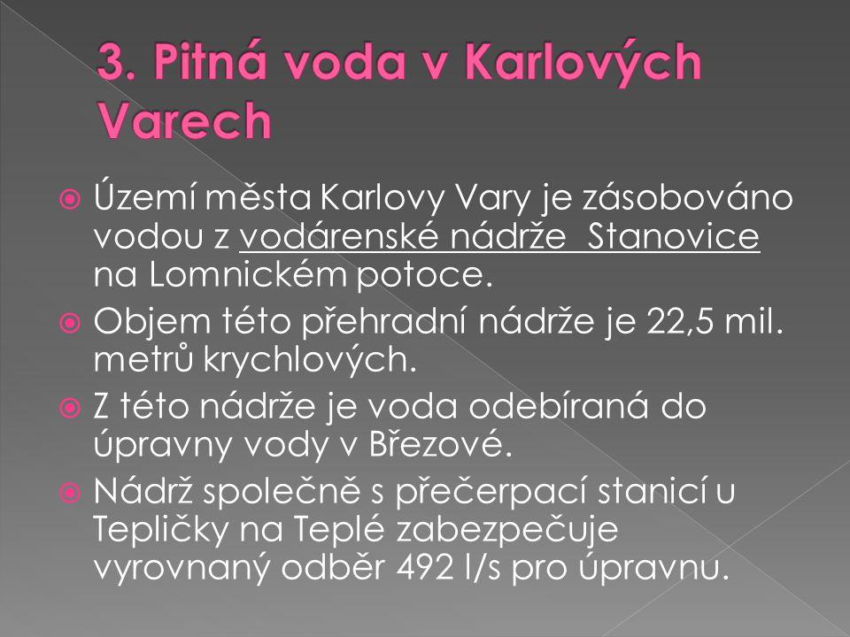  Území města Karlovy Vary je zásobováno vodou z vodárenské nádrže Stanovice na Lomnickém potoce.