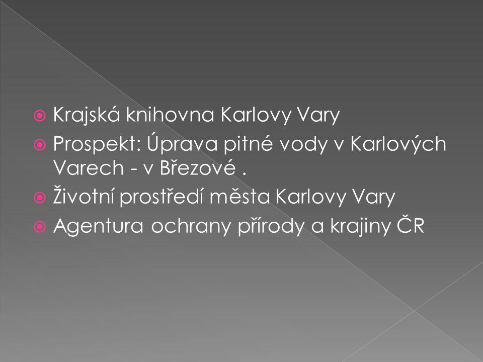  Krajská knihovna Karlovy Vary  Prospekt: Úprava pitné vody v Karlových Varech - v Březové.