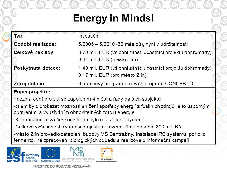 Energy in Minds! Typ:investiční Období realizace:5/2005 – 5/2010 (60 měsíců), nyní v udržitelnosti Celkové náklady:3,70 mil. EUR (všichni zlínští účas