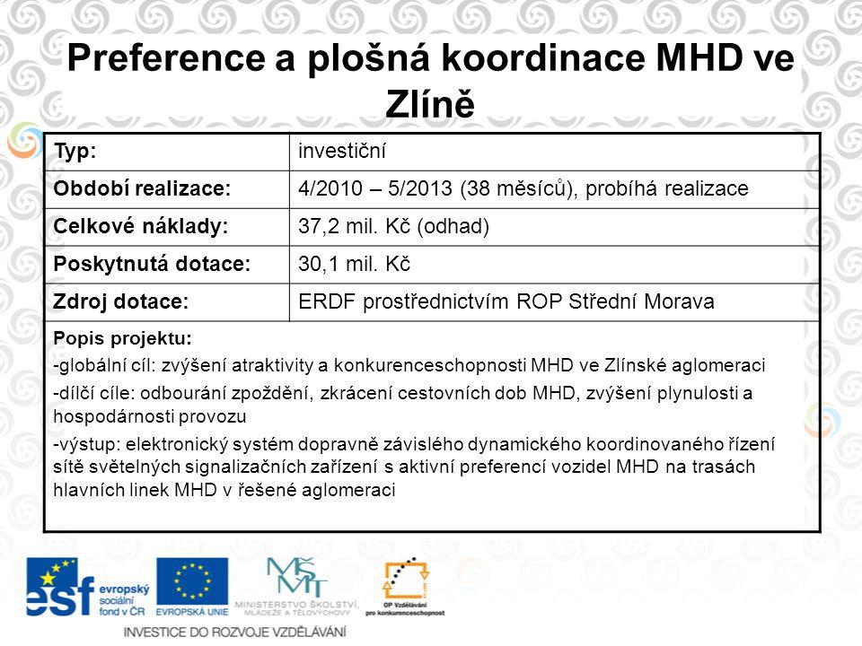 Preference a plošná koordinace MHD ve Zlíně Typ:investiční Období realizace:4/2010 – 5/2013 (38 měsíců), probíhá realizace Celkové náklady:37,2 mil. K