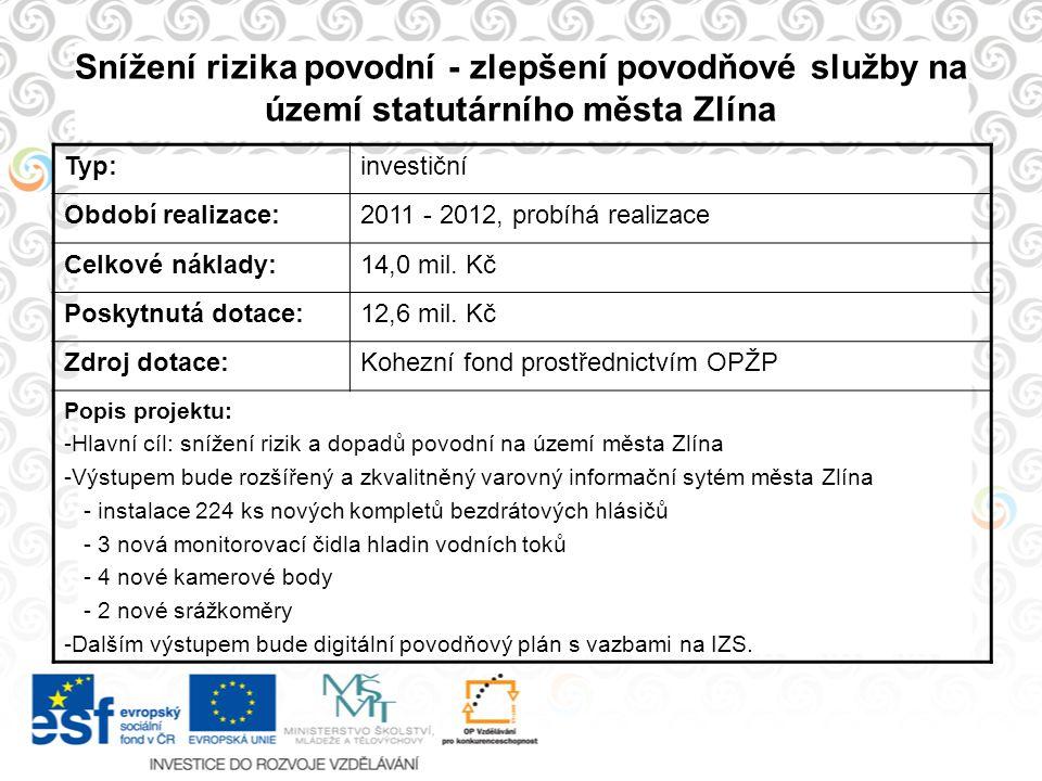 Snížení rizika povodní - zlepšení povodňové služby na území statutárního města Zlína Typ:investiční Období realizace:2011 - 2012, probíhá realizace Ce