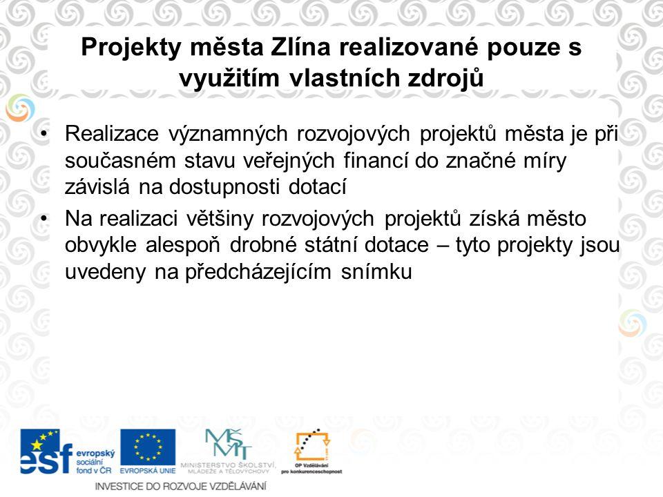 Projekty města Zlína realizované pouze s využitím vlastních zdrojů Realizace významných rozvojových projektů města je při současném stavu veřejných fi
