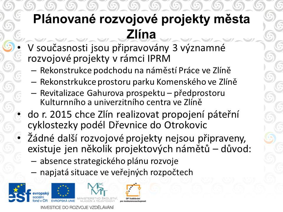 Plánované rozvojové projekty města Zlína V současnosti jsou připravovány 3 významné rozvojové projekty v rámci IPRM – Rekonstrukce podchodu na náměstí