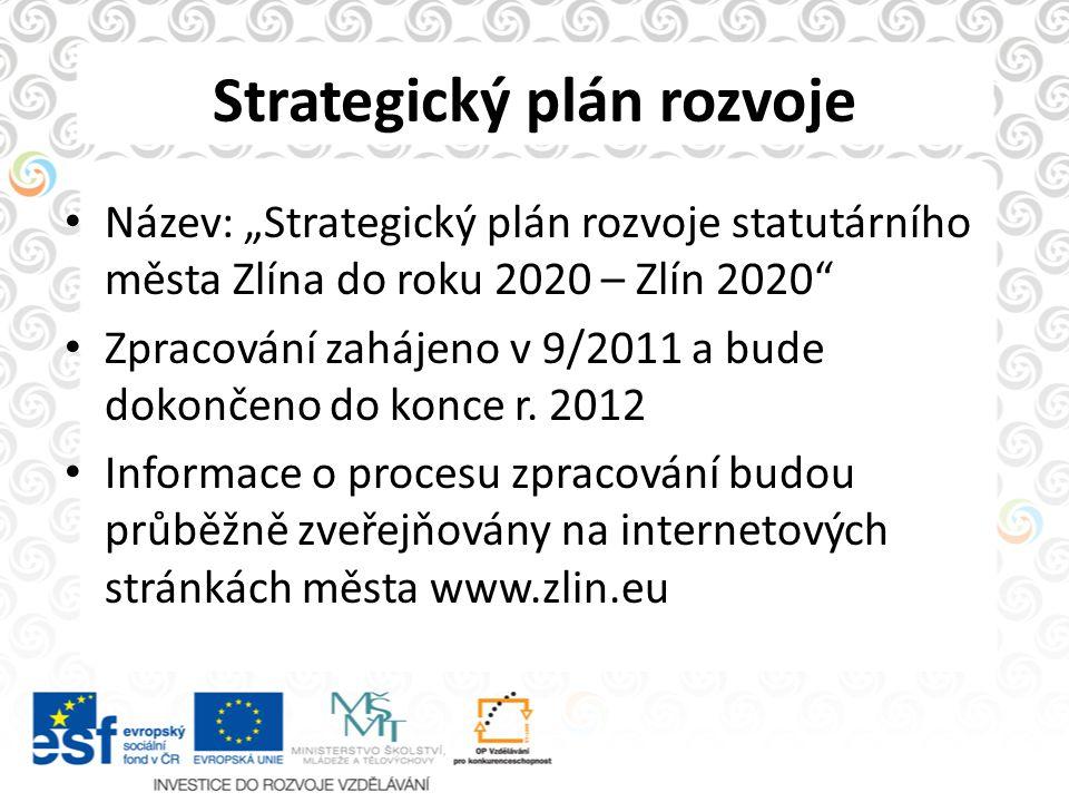 """Strategický plán rozvoje Název: """"Strategický plán rozvoje statutárního města Zlína do roku 2020 – Zlín 2020"""" Zpracování zahájeno v 9/2011 a bude dokon"""