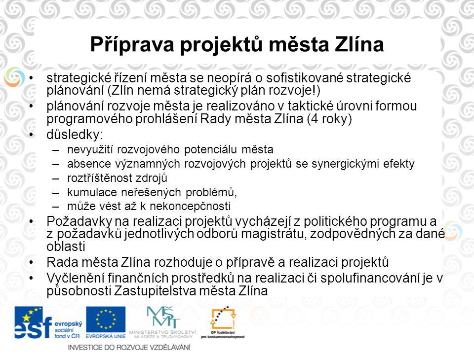 Příprava projektů města Zlína strategické řízení města se neopírá o sofistikované strategické plánování (Zlín nemá strategický plán rozvoje!) plánován