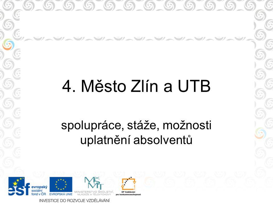 4. Město Zlín a UTB spolupráce, stáže, možnosti uplatnění absolventů