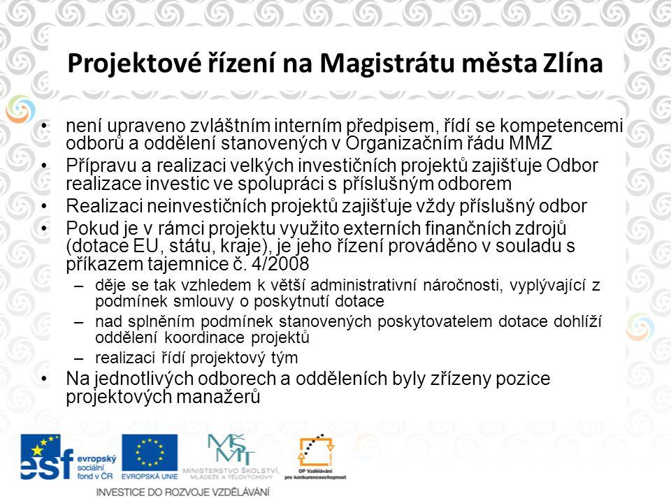 Projektové řízení na Magistrátu města Zlína není upraveno zvláštním interním předpisem, řídí se kompetencemi odborů a oddělení stanovených v Organizač