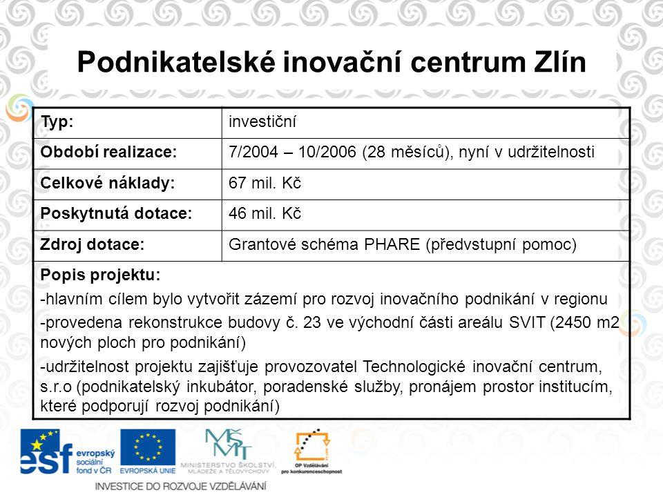 Podnikatelské inovační centrum Zlín Typ:investiční Období realizace:7/2004 – 10/2006 (28 měsíců), nyní v udržitelnosti Celkové náklady:67 mil. Kč Posk
